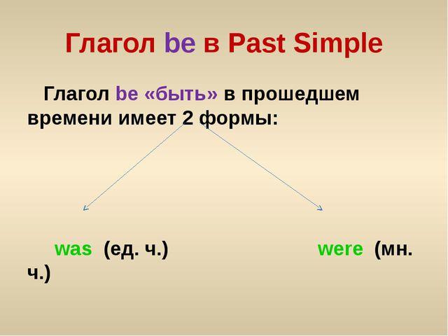 Глагол be в Past Simple Глагол be «быть» в прошедшем времени имеет 2 формы: w...