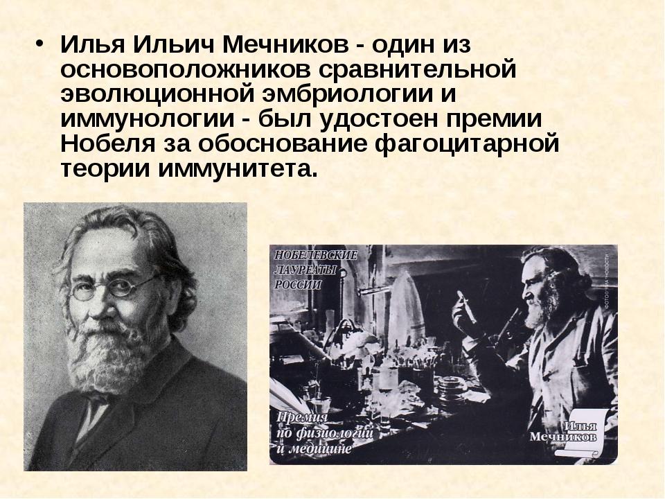 Илья Ильич Мечников - один из основоположников сравнительной эволюционной эмб...