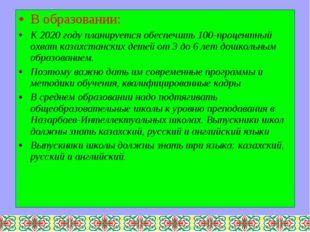 В образовании: К 2020 году планируется обеспечить 100-процентный охват казахс