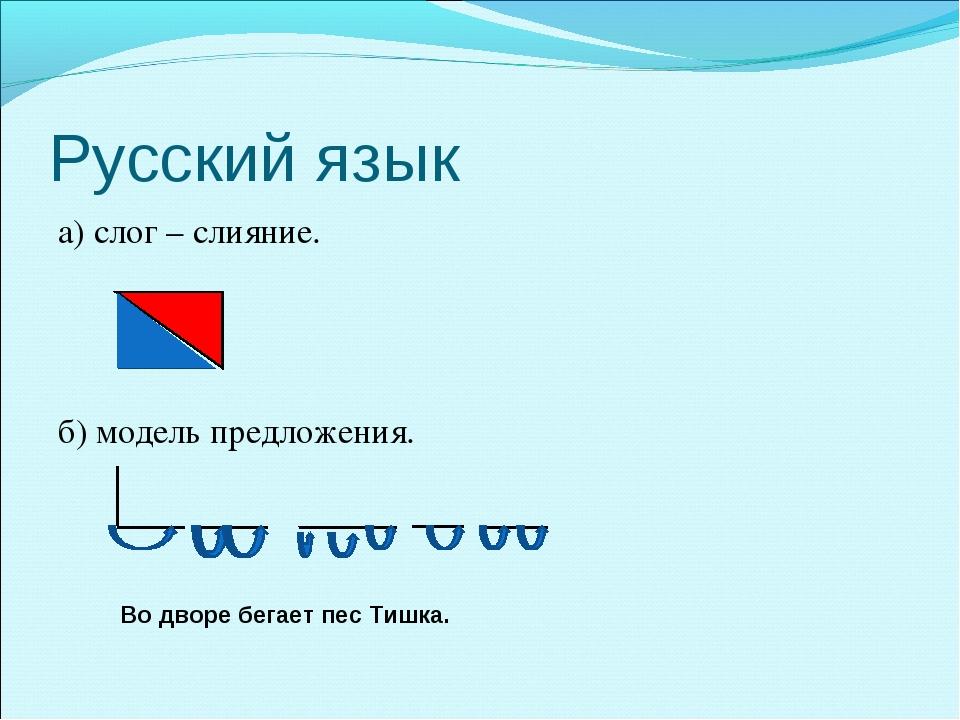 Русский язык а) слог – слияние. б) модель предложения. Во дворе бегает пес Ти...