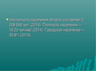 Численность населения области составляет 2 008 566чел. (2014). Плотность нас