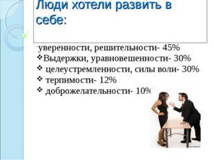 Люди хотели развить в себе: уверенности, решительности- 45% Выдержки, уравнов
