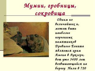 Мумии, гробницы, сокровища Одним из величайших и, может быть наиболее изученн