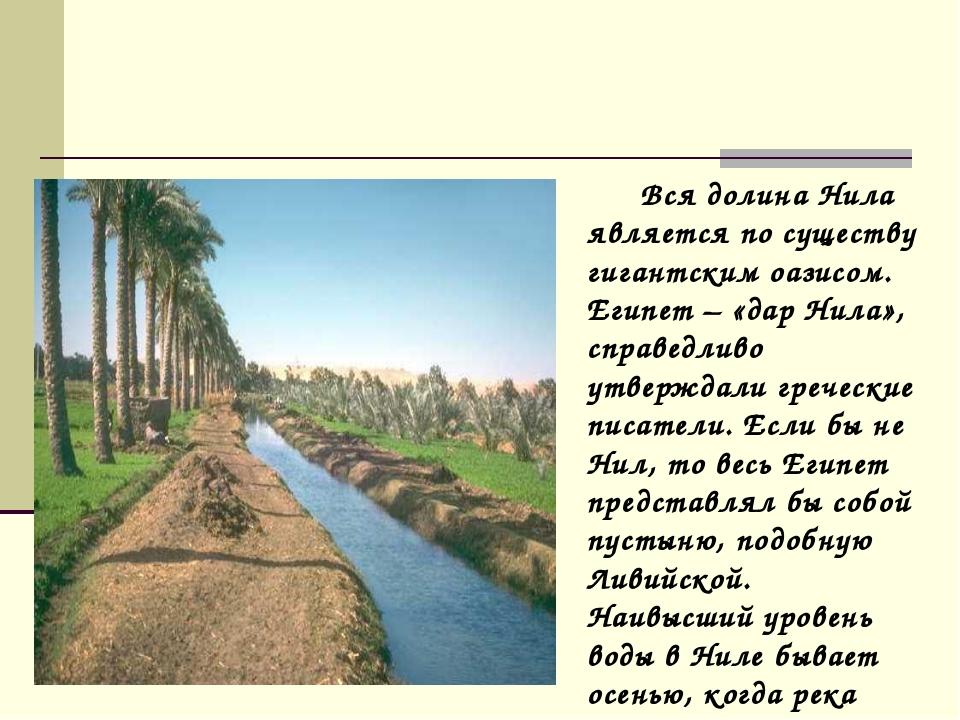 Вся долина Нила является по существу гигантским оазисом. Египет – «дар Нила»...