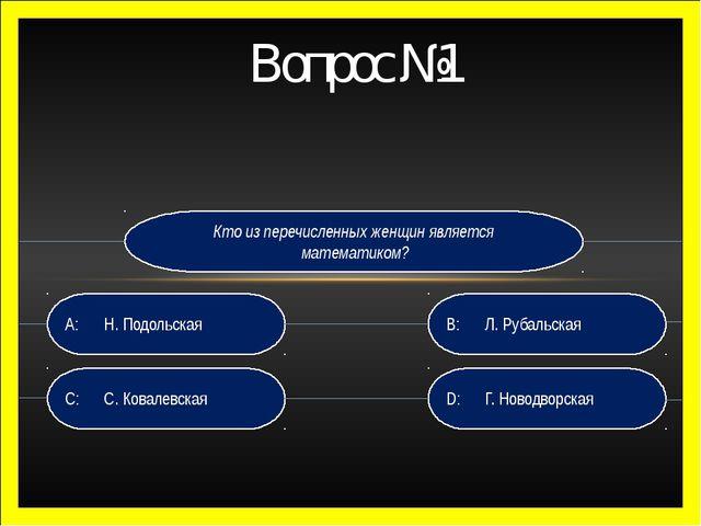 Кто из перечисленных женщин является математиком? D:  Г. Новодворская B: Л...