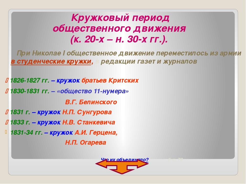 Кружковый период общественного движения (к. 20-х – н. 30-х гг.).  1826-1827...