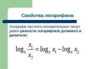 Свойства логарифмов Логарифм частного положительных чисел равен разности лога