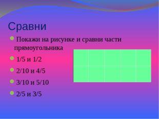 Сравни Покажи на рисунке и сравни части прямоугольника 1/5 и 1/2 2/10 и 4/5 3
