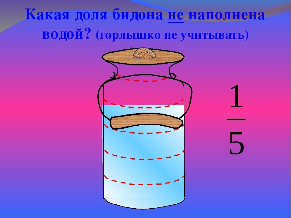 Какая доля бидона не наполнена водой? (горлышко не учитывать) Математика 5 к...