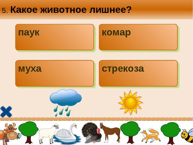 5. Какое животное лишнее? паук комар муха стрекоза