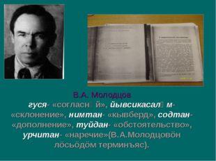 В.А. Молодцов гуся- «согласнӧй», йывсикасалӧм- «склонение», нимтан- «кывберд»