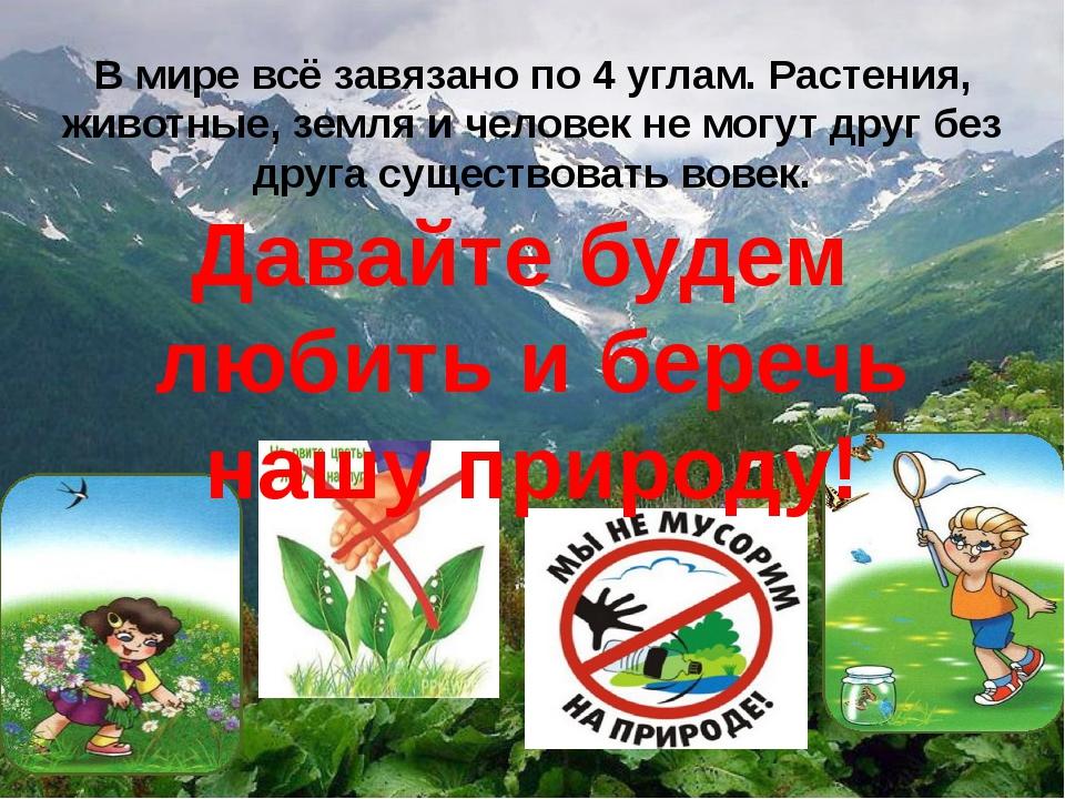 В мире всё завязано по 4 углам. Растения, животные, земля и человек не могут...