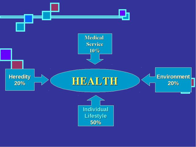 HEALTH Medical Service 10% Environment 20% Heredity 20% Individual Lifestyle...