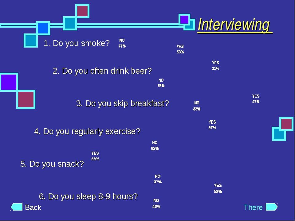 Interviewing 1. Do you smoke? 2. Do you often drink beer? 3. Do you skip brea...