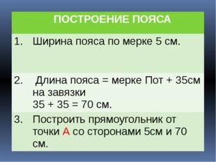ПОСТРОЕНИЕ ПОЯСА 1. Ширина пояса по мерке 5 см. 2. Длинапояса = мерке Пот +
