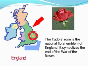 England The Tudors' rose is the national floral emblem of England. It symboli