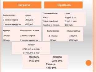 Затраты Прибыль Количество Цена 1 мешок зерна 300руб. 1мешоккукурузы 600 руб