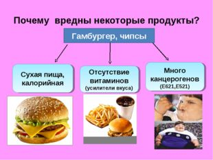 Почему вредны некоторые продукты? Гамбургер, чипсы Сухая пища, калорийная Отс