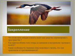 Что позволило птицам освоить полет как средство перемещения в пространстве ?