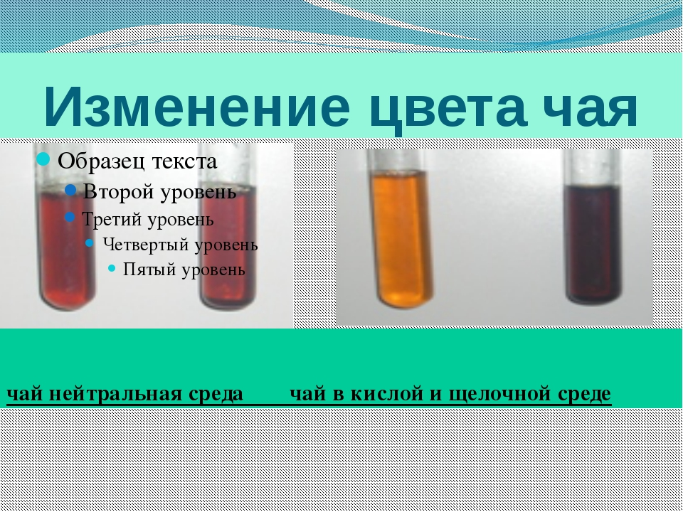 Изменение цвета чая чай нейтральная среда чай в кислой и щелочной среде