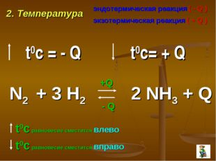 2. Температура эндотермическая реакция ( - Q ) экзотермическая реакция ( + Q