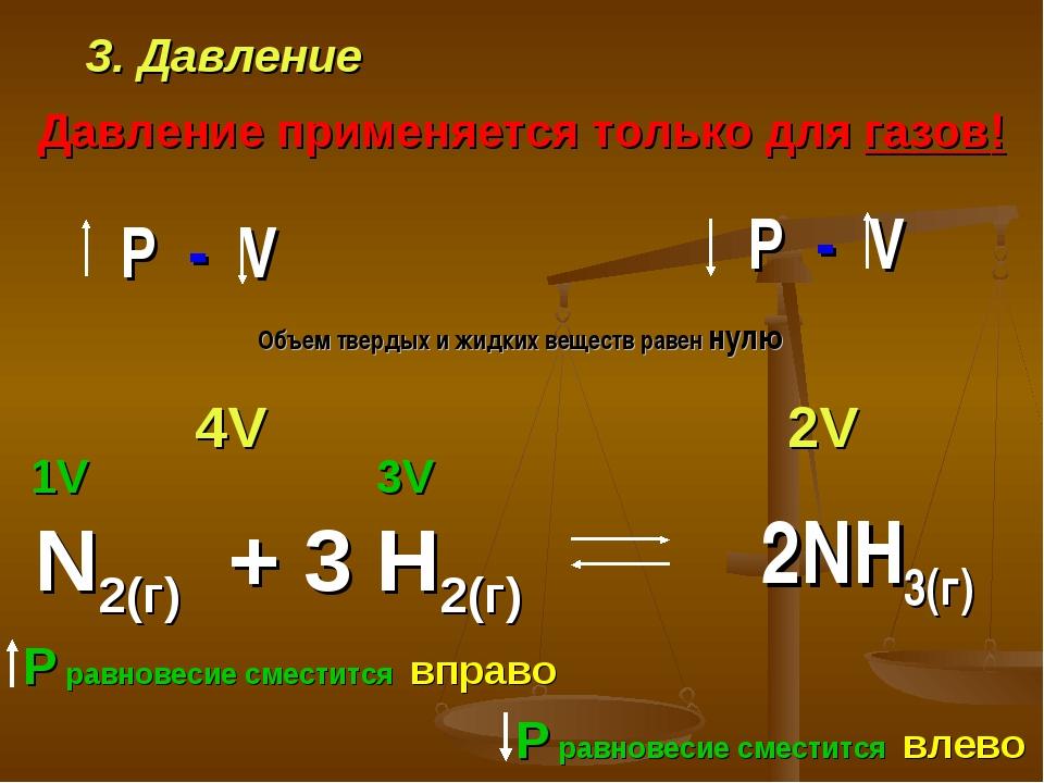 3. Давление Давление применяется только для газов! N2(г) + 3 H2(г) 1V 3V 2V 4...