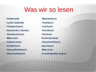 Was wir so lesen -Belletristik -Woerterbuch -Lyrik/ Gedichte -Fachbuch -Theat