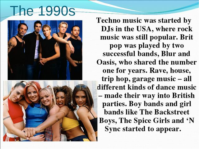 The 1990s Techno music was started by DJs in the USA, where rock music was st...