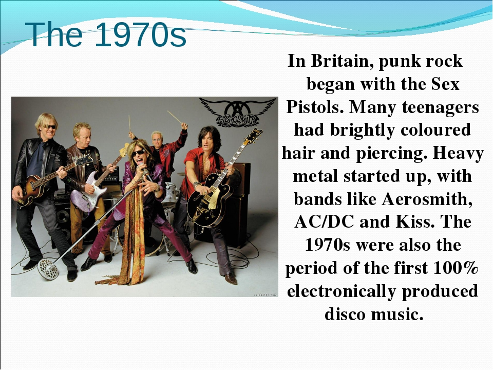 The 1970s In Britain, punk rock began with the Sex Pistols. Many teenagers ha...