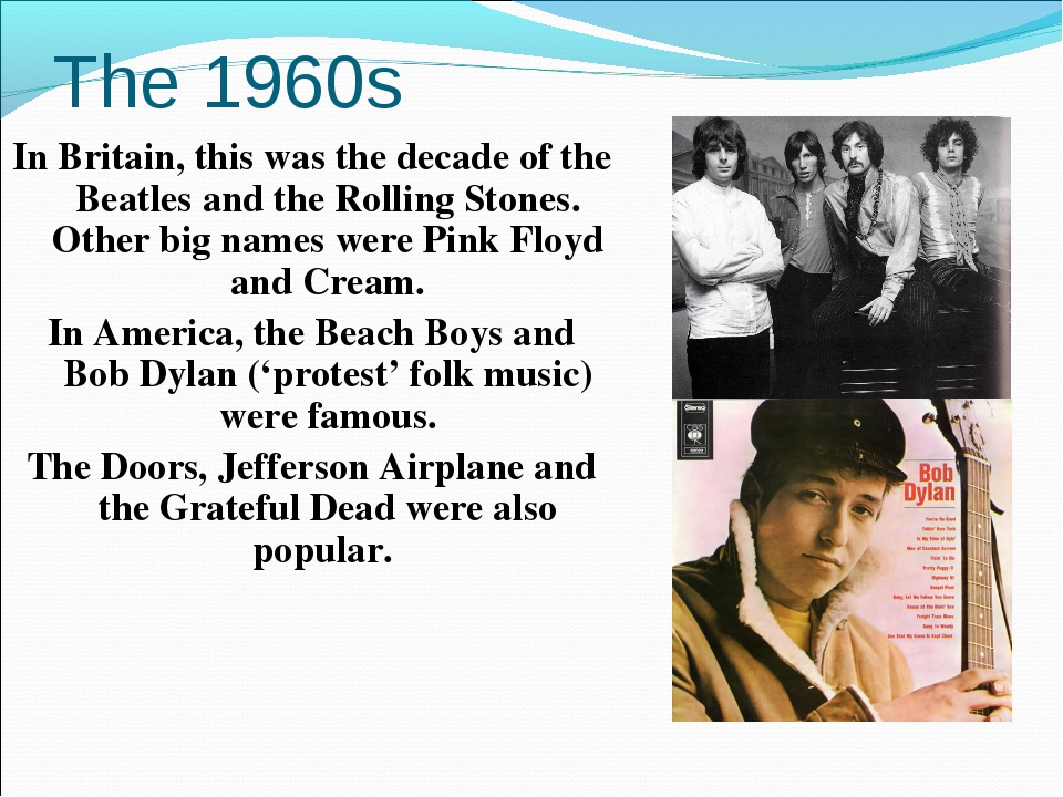 The 1960s In Britain, this was the decade of the Beatles and the Rolling Ston...