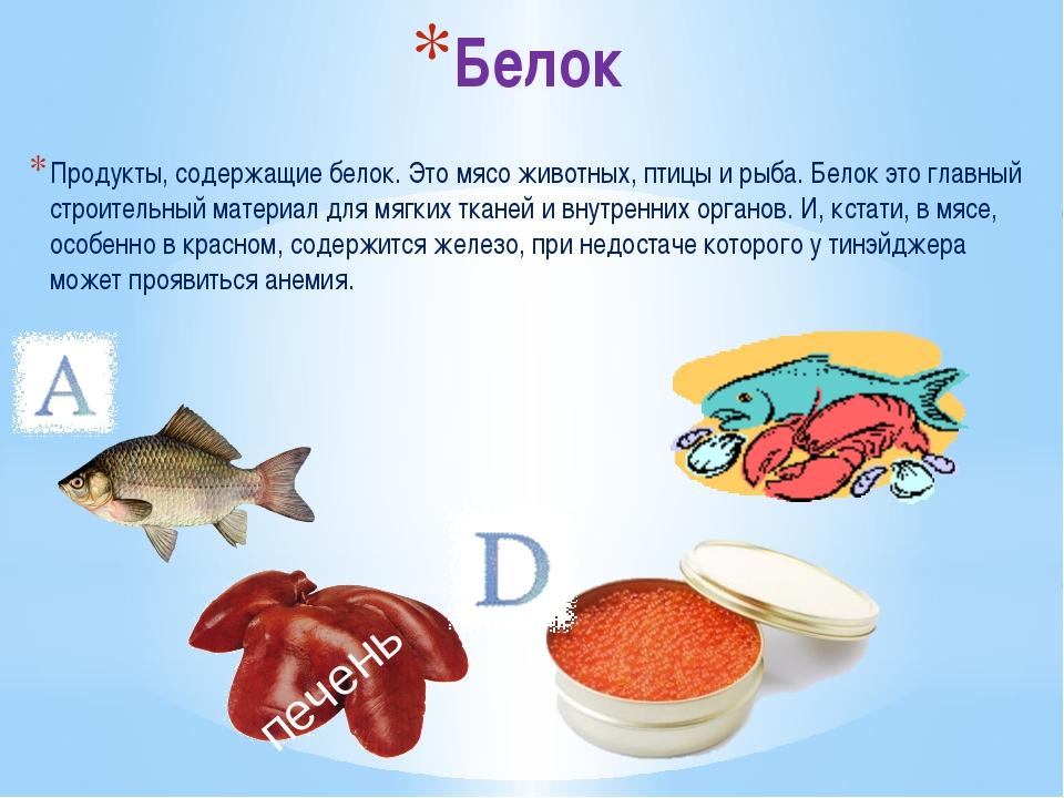 Белок Продукты, содержащие белок. Это мясо животных, птицы и рыба. Белок это...
