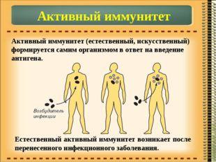 Активный иммунитет Активный иммунитет (естественный, искусственный) формирует