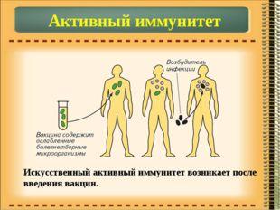 Активный иммунитет Искусственный активный иммунитет возникает после введения
