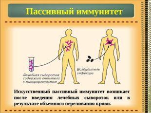 Пассивный иммунитет Искусственный пассивный иммунитет возникает после введени
