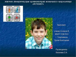 Выполнил: ученик 4 класса В МБОУ СОШ № 6 г. Георгиевска Орлов Константин Рук