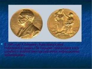 В 1945 году А.Флемингу была присуждена Нобелевская премия «За открытие пениц