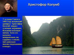 У острова Гаити в 1493 году испанский адмирал Христофор Колумб увидел туземце