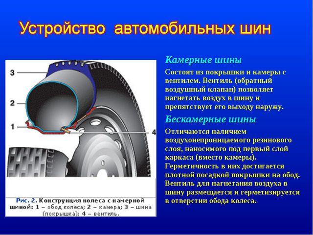 Камерные шины Состоят из покрышки и камеры с вентилем. Вентиль (обратный возд...