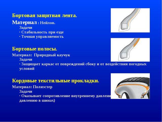 Бортовая защитная лента. Материал : Нейлон. Задачи · Стабильность при езде ·...