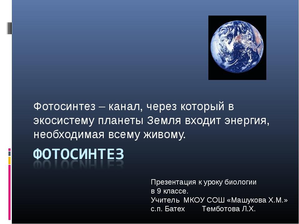 Фотосинтез – канал, через который в экосистему планеты Земля входит энергия,...