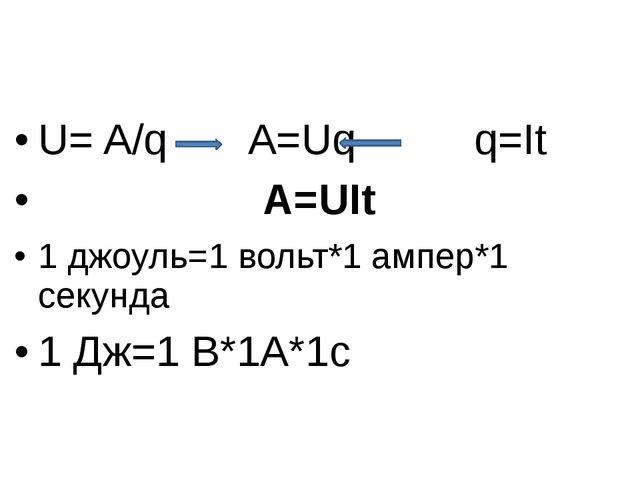 U= A/q A=Uq q=It A=UIt 1 джоуль=1 вольт*1 ампер*1 секунда 1 Дж=1 В*1А*1с