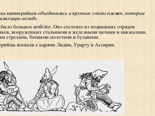 Племена киммерийцев объединялись в крупные союзы племен, которые возглавлял ц...