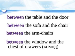 between the table and the door between the sofa and the chair between the ar