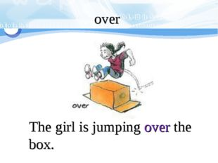 The girl is jumping over the box. over