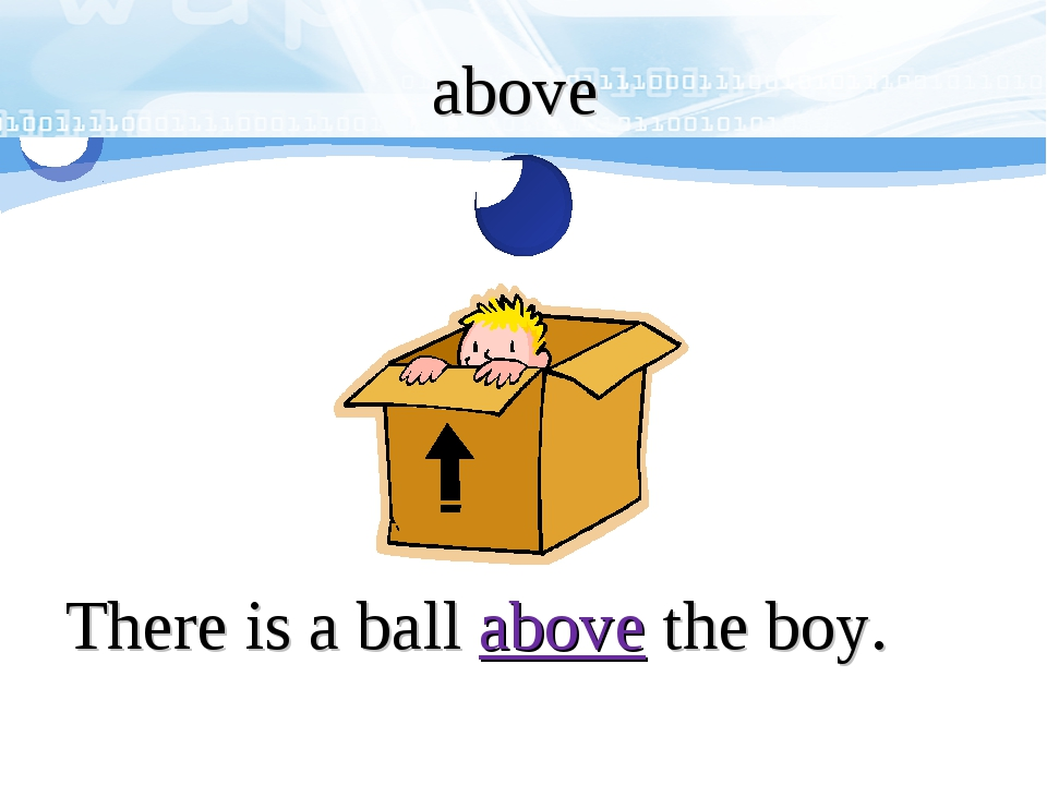 above There is a ball above the boy.