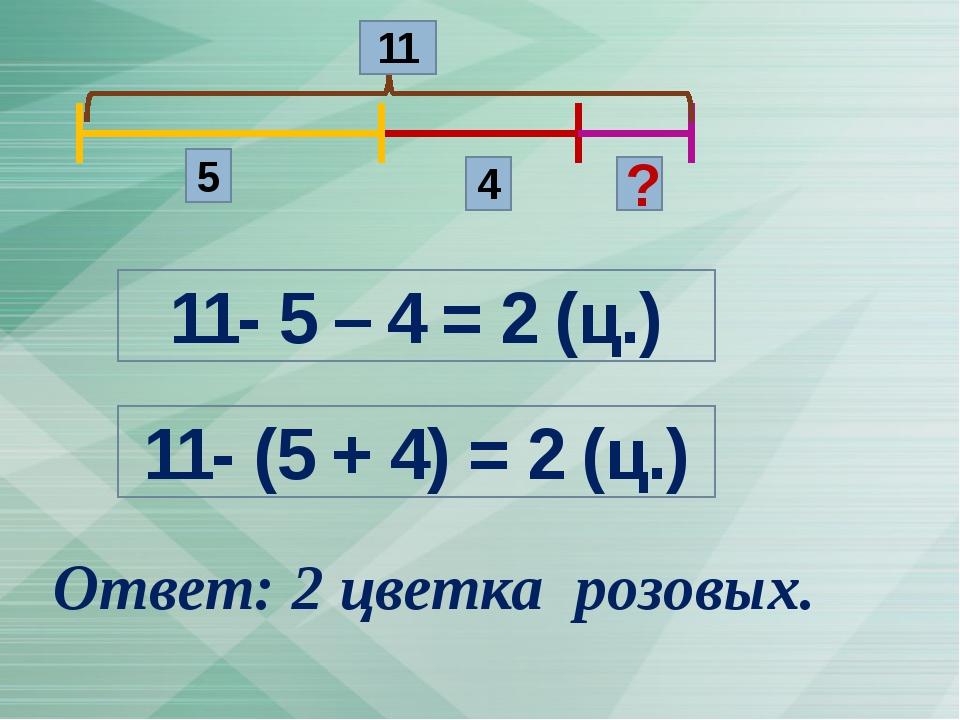 5 4 ? 11 11- 5 – 4 = 2 (ц.) 11- (5 + 4) = 2 (ц.) Ответ: 2 цветка розовых.