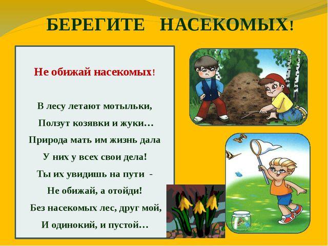 БЕРЕГИТЕ НАСЕКОМЫХ! Не обижай насекомых! В лесу летают мотыльки, Ползут козя...