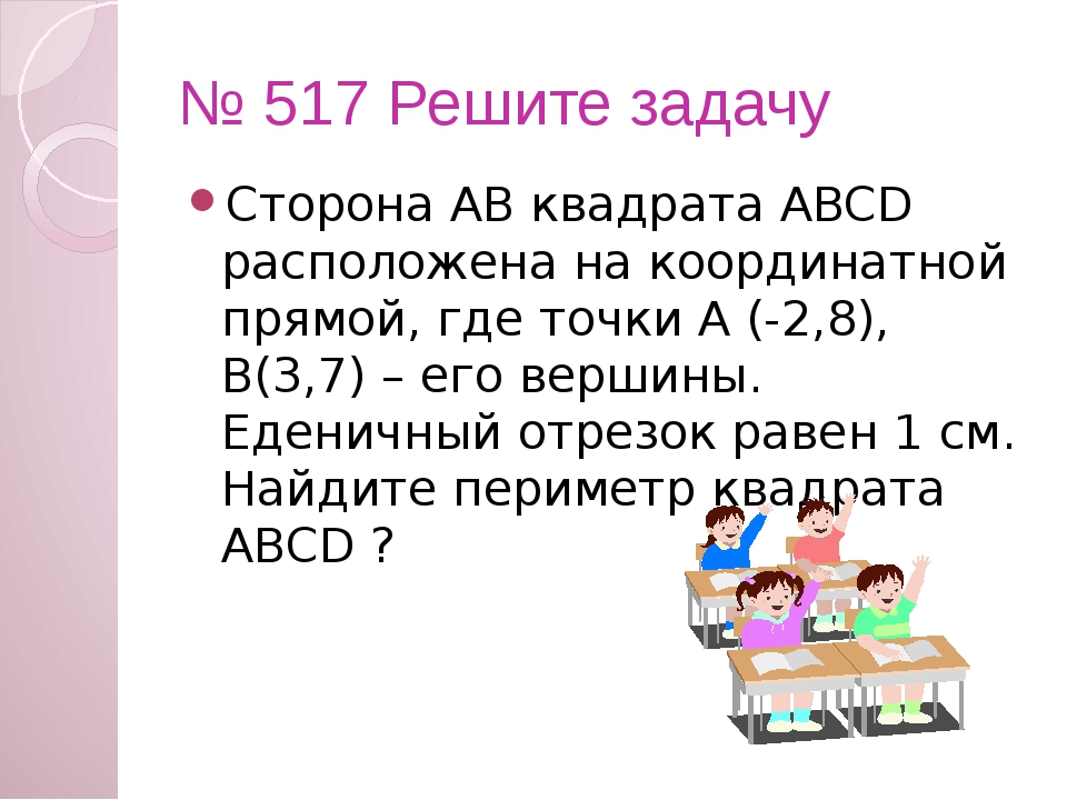 № 517 Решите задачу Сторона АВ квадрата ABCD расположена на координатной прям...
