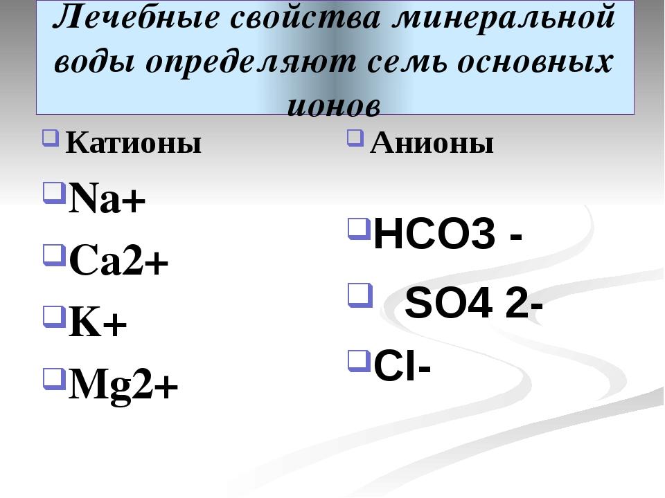 Лечебные свойства минеральной воды определяют семь основных ионов Катионы Na+...
