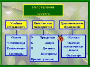 Направления проекта Внеклассные мероприятия Учебная деятельность Дополнительн